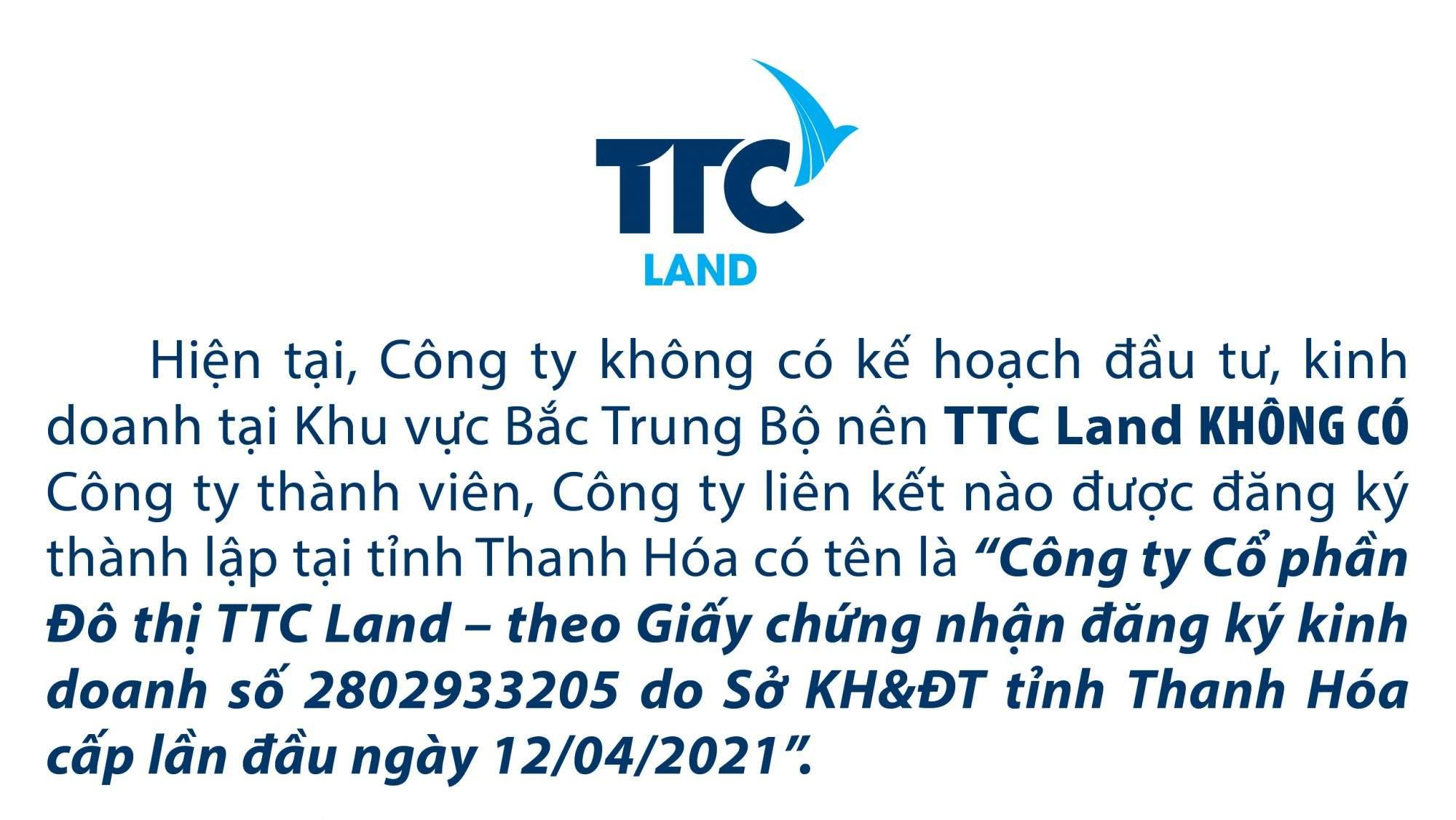 Cải chính TTC Land không có công ty thành viên hoặc chi nhánh tại Thanh Hóa